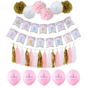 Cyuan Pink Unicorn Party Paper Banner Flower Balloons Tassels Happy Birthday Party Decoration Girl Baby Shower Party Supplies