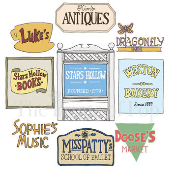 Gilmore Girls-Stars Hollow Business Signs Print (11x14) - FREE SHIPPING