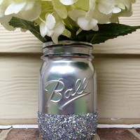 Shining shimmering silver Painted glitter mason jar vase vintage centerpiece wedding decor ball kerr rustic wedding Glitter sparkling