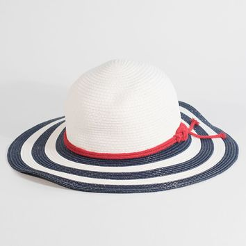 White & Navy Blue Straw Nautical Liberty Sun Hat