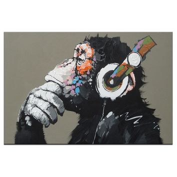 Thinking Monkey with Headphone Wall Art on Canvas for Household Decor