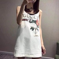 GUCCI Women Fashion Flower Shirt Top Tee Dress
