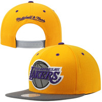 Mitchell & Ness Los Angeles Lakers Extra Large Current Logo Reflective Snapback Adjustable Hat - Gold