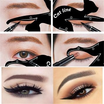 2Pcs/Set New Cat Line Eye Makeup Eyeliner Stencils Templates Makeup Tools Kits For Eye