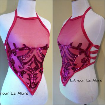 Hot Pink Sequin Spandex Mesh Halter Top Crop Top Dance Rave Bra