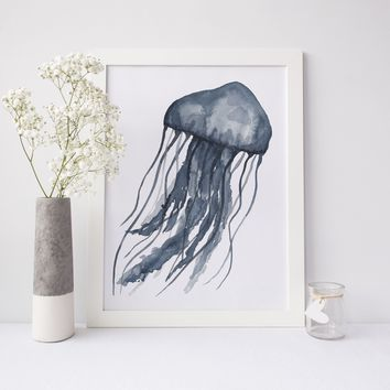 Jellyfish Underwater Painting Art Print or Canvas