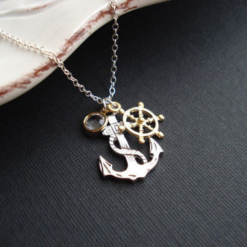 Anchor Necklace In Silver. Anchor Pendant, Nautical Jewelry.Wedding Jewelry, Silver. Modern, Gold And Silver, White