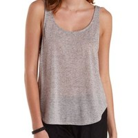 Gray Slouchy Slub Knit Tank Top by Charlotte Russe