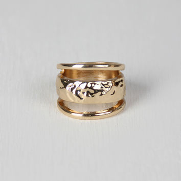 Hammered Triple Band Faux Stacked Ring