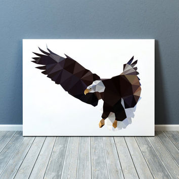 Bird of prey print Geometric decor Bald eagle poster Wall art TOA77