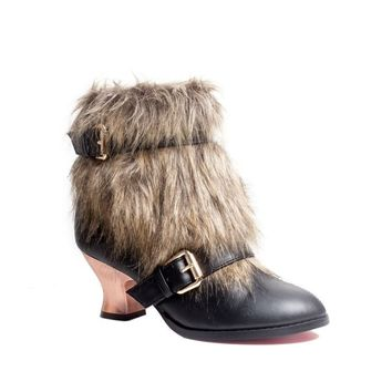 Hades Shoes H-Elena Fur And Synthetic Leather Low Boot