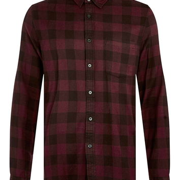 Burgundy Overdye Buffalo Check Long Sleeve Casual Shirt - Topman