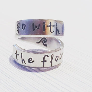 Go with the flow  wave hand stamped inside spiral hand stamped ring