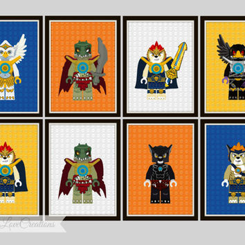 Lego Chima Prints  - Lego Prints, Boy's Room Decor, Playroom, Chima Prints, Lego Chima Decor, 5x7 Prints