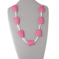 "Chunky Retro Hot Pink Trapezoid White Adjustable 50"" Long Ribbon Tie Necklace"
