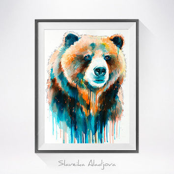 Grizzly bear watercolor painting print , animal, illustration, animal watercolor, animals paintings, animals, animal portrait, bear art
