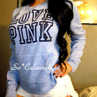 Victoria's Secret PINK Blue BIG LOGO Sexy Crew Sweatshirt Pullover Top S