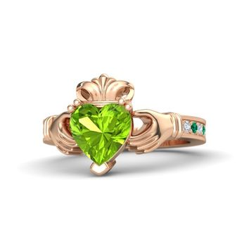 Heart Peridot 14K Rose Gold Ring with Diamond & Emerald