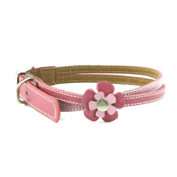 Swirly Pink Flower Dog Collar