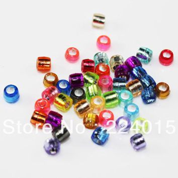 Freeshipping!500pcs/4mm Silver Foil Big Hole Pony Barrel Acrylic Spacers Beads Jewelry  Findings DIY Fit Bracelets Crafts Kids