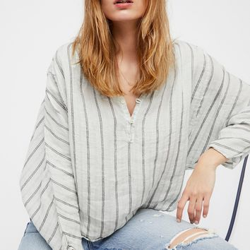 Free People Striped Dolman Swing Blouse