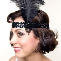 Black Charleston Feather Flapper Headband