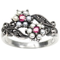Gemini Cultured Seed Pearl Sterling Silver Ring, Ruby - Dahlia Vintage Collection