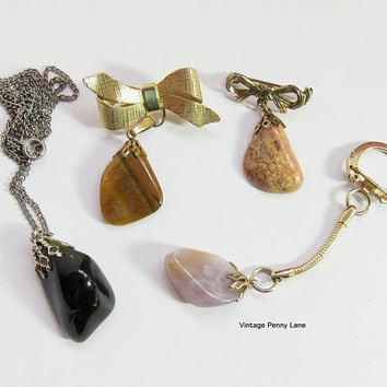 Destash Lot Vintage Gemstone Costume Jewelry / Jewellery, Charm Pins, Pendant Necklace, Keyring