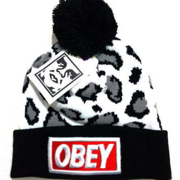 Obey Black Red Cheetah Beanie
