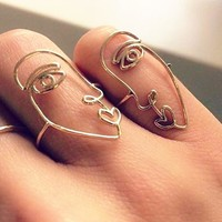 Set of 2 Abstract Face Rings