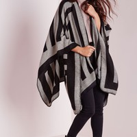 Missguided - Multi Stripe Geo Blanket Wrap Black/White
