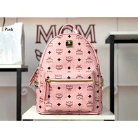 MCM street fashion men and women casual wild large capacity side rivet backpack Pink