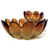 Chip and Dip Serving Bowls Blenko Style Amber Indiana Glass Amberina Luau Petal Bowl Now Clearance Priced