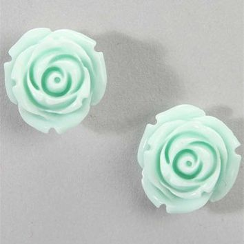 Mint Rose Stud Earrings