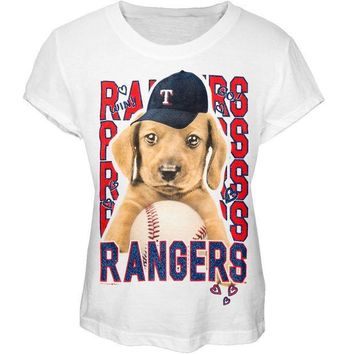PEAPGQ9 Texas Rangers - Puppy Dog White Girls Juvy T-Shirt