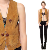 SUEDE Vest 70s Hippie Rustic Leather Boho 1970s by ShopExile