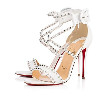 Christian Louboutin Cl Choca Spikes Latte/silver Leather 17w Bridal 3170560w083 - Sale