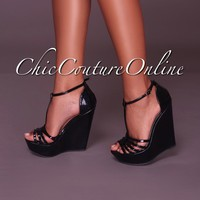 Vivi Black T-Strap Wedges