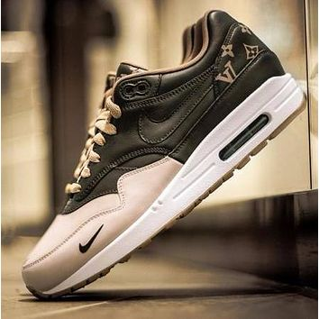 Best Online Sale LV x Supreme Nike Air Max 1 Custom Gold Brown Men Women Fashion Shoes