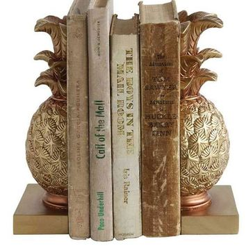 "Decorative Resin Pineapple Bookends in Gold - 2 per Set - 8.75"" Tall"