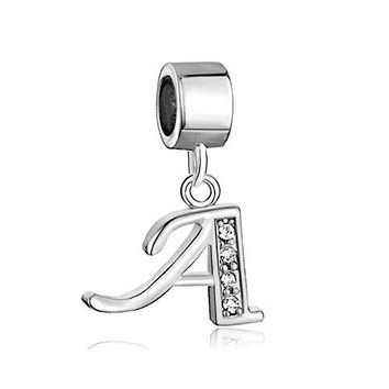 QampLocket Z Alphabet Letter Charms Initial Dangle Bead For Bracelet