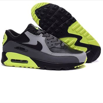 """NIKE"" Fashion Women/man Running Sport Casual Shoes Sneakers Black fluorescent green"