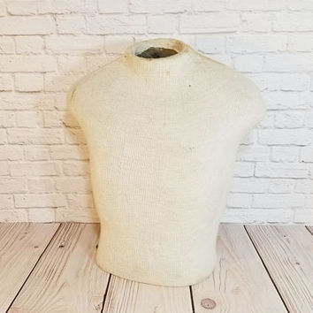 Vintage Table Top Male Mannequin Torso Bust