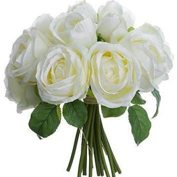 """Silk Rose Bouquet in White - 10"""" Tall"""