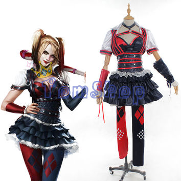 Batman Arkham Asylum City Suicide Squad Harley Quinn Joker Cosplay Dress Full Set Women's Halloween Costumes