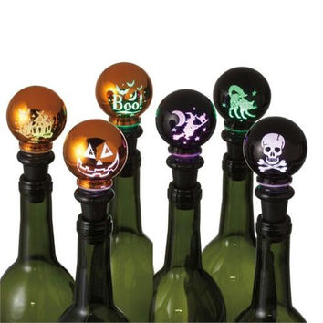 "6 Halloween Bottle Stoppers - 2 "" (50.8mm)dia X 4 "" H(total Stopper Height)"