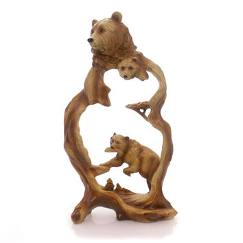 Animal BEAR W/FISH WOODLIKE CARVING Polyresin Figurine Mmd183