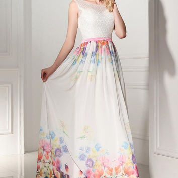 2016 Pretty Long Cap Sleeves Printed Chiffon Charming Prom Dresses K115