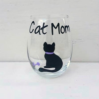 Cat Mom handpainted stemless wine glass