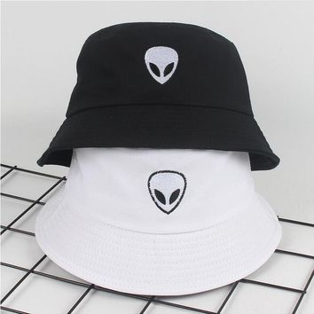 2018 black white solid Alien Bucket Hat Unisex Bob Caps Hip Hop Gorros Men women Summer Panama Cap Beach Sun Fishing boonie Hat